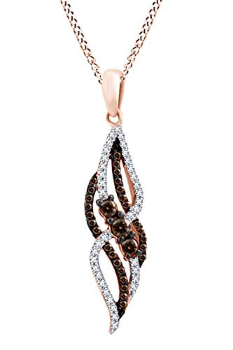 Round Cut Brown & White Diamond Swirl Pendant Necklace In 10K Solid Rose Gold (1/4 Cttw)