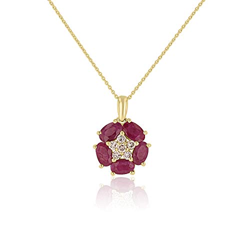 IGL Certified 14K Yellow Gold Diamond Flower Pendant with Natural Ruby (Gold Chain -