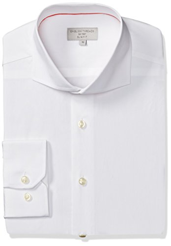 English Threads Men's Slim Fit End Dress Shirt, White, 14.5