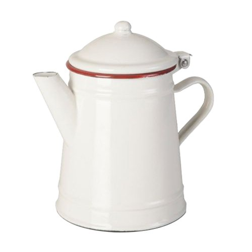 IBILI Conical Enamelled Steel Coffee Pot, White/Red, 1 Litre 908501