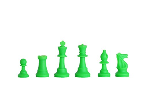 Regulation Silicone Tournament Chess Set   Pieces Only   3 75  King   Neon Green   By Us Chess Federation