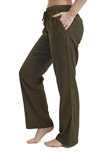 J & Ce Women's Gauze Cotton Beach Pants with Pockets (Green, XXL)