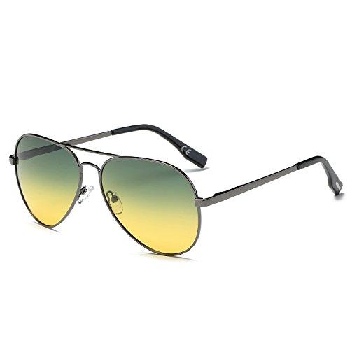 amztm de aviador puente revo Noche Gafas polarizadas marco sol lentes espejo Día Metal de doble rrwxzqnRS