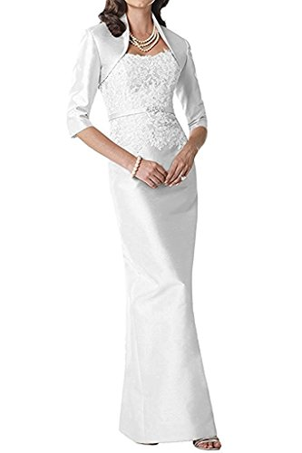 Braut Etuikleider Brautmutterkleider Partykleider Abendkleider mit Spitze Bolero La Langarm Schwarz mia Weiß Damen O5Oq8aw