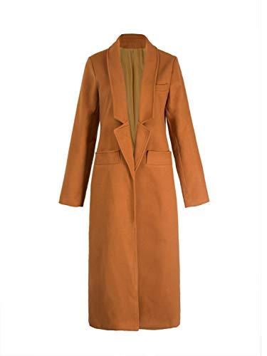 PERSUN Women Gray Woolen Lapel Long Sleeve Longline Coat (X-Large, Brown) (Wool Duffle Coat Women)