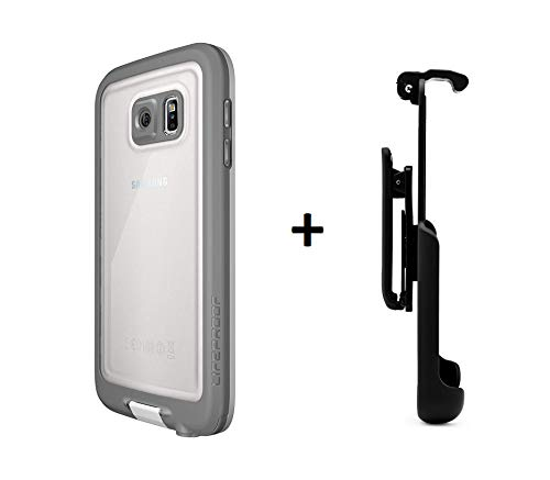 - LifeProof FRE Samsung Galaxy S6 Waterproof Case - Retail Packaging - Avalanche (White/Grey) (White/Grey Plus Belt Clip)