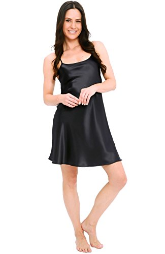 Alexander Del Rossa Womens Satin Nightgown, Long Camisole Chemise, 2X Black (A0766BLK2X) Satin Long Chemise