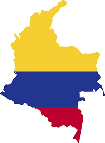 Map with flag inside colombia 4x5.6 sticker decal die cut vinyl - Made and Shipped in USA