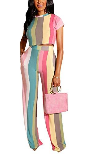 Lucuna Womens Sexy 2 Piece Outfits Jumpsuits Short Sleeve Stripe Print Crop Top Wide Leg Long Pants Set