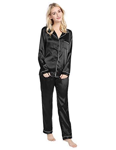 (Plus Size Silky Satin Sleepwear Loungewear Set Button Up Long Sleeve PJs Size 2XL Black)