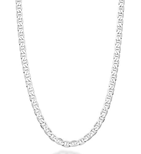 MiaBella Solid 925 Sterling Silver Italian 4mm Diamond-Cut Flat Mariner Link Chain Necklace for Men Women 16-30 Inches Made in Italy ()