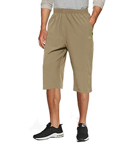TACVASEN Men's Military-Style Elastic Capri Shorts Ripstop Cropped Pants -