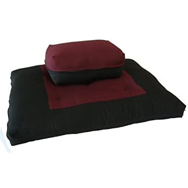 Brand New Black/Burgundy Zabuton Zafu Set, Yoga, Meditation Seat Cushions, Kneeling, Sitting, Supporting Exercise Pratice Zabuton & Zafu Cushions.