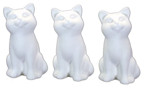 Ceramic Bisque - Ready to Paint - Small Cats - Kittens - 3 pack