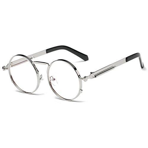 Yefree Vintage Gafas Plana para hombres Luz sol Gafas Marco de redondas Gafas Retro y mujeres Plateado de Gafas ErYr4w