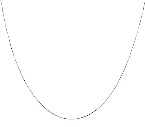 (925 Sterling Silver Italian 1mm 8 Side Diamond Cut Snake Chain Crafted Necklace Strong - Lobster Claw Clasp With Extra Free Gift (14, sterling-silver))