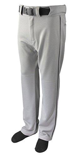 New Martin Baseball Softball Grey Belt Loop Pants w Black Piping Youth XS-XL (YL)