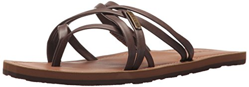 Volcom Women's Happy Multi Strap Fashion Sandal Flat, Brown, 9 B US