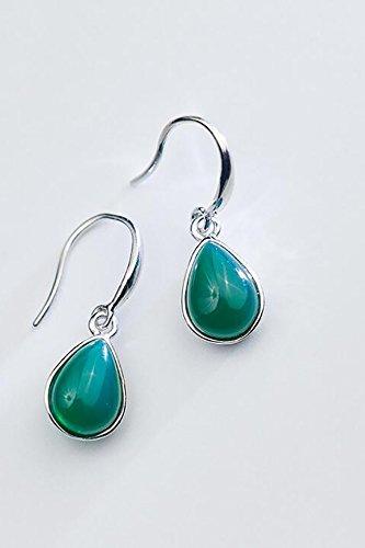 s925 Silver Earrings earings Dangler Eardrop Women Girls Retro Woman Gift Lady Synthetic Green Agate Personalized Teardrop-Shaped