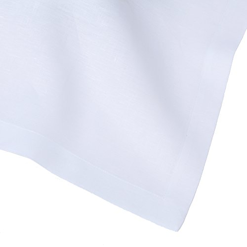 White Italian Pure Linen Tablecloth, 66''x126'' Rectangle by Huddleson Linens