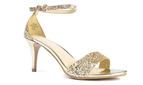 J. Adams Low Ankle Strap Heel, Gold Glitter, 8.5 B(M) US