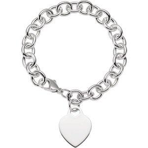 Cœur en argent sterling Bracelet charme 19,1cm