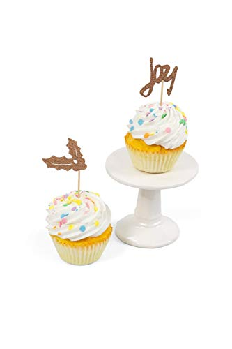 CLOSEOUT 24pc Holly and Joy Rose Gold Glitter Cupcake Toothpick Toppers ()