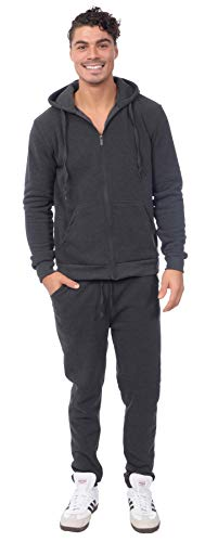 (TR Fashion Men's 2-Piece Fleece Zip-Front Hoody Sweatsuit Set (Dk Gray,)