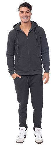 TR Fashion Men's 2-Piece Fleece Zip-Front Hoody Sweatsuit Set (Dk Gray, Large)