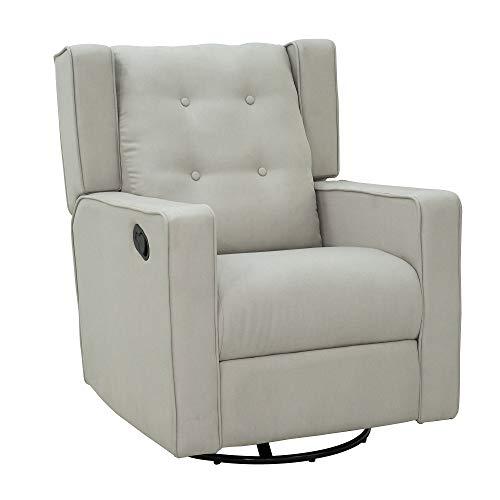 HOMCOM Polyester Linen Fabric Swivel Gliding Recliner Chair, Beige