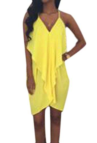 Chiffon Cute Yellow Ruffles Backless Solid Women Heart C Sexy Strap amp;H Spaghetti Dress RnOvR1rxZ