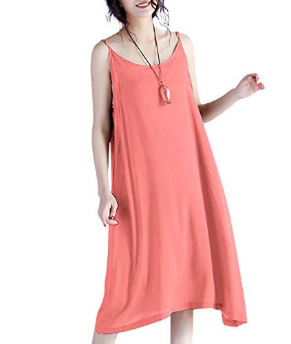 YESNO JEL Women Casual Loose Slip T-Shirt Dresses Beach Cover up Plain Dress A Skirt Hemline (XL, JEL Orange)