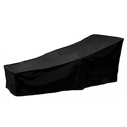 1Pc Outdoor Sun Lounger Covers Waterproof Garden Rattan Sunbed Cover Anti-UV Patio Furniture Protector with PVC Lining Black 2.08m X 0.76m X 0.41-0.79m / 6.82ft X 2.49ft X 1.34-2.59ft