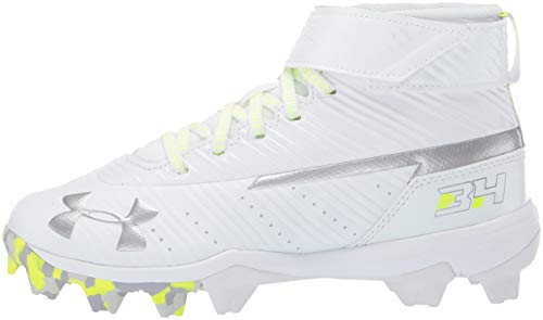 Under Armour Boys' Harper 3 Mid Jr. RM Baseball Shoe, (100)/White, 1.5 by Under Armour (Image #5)