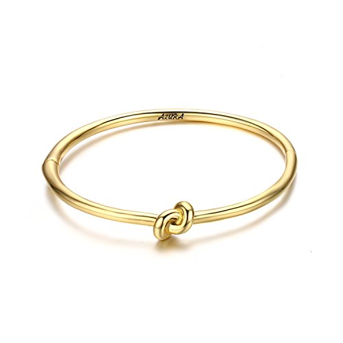 Fiorozy Gold/Silver/Rose Gold Tone Love Knot Bracelet Bangle Cuff Gift for Anniversary Wedding Braidsmaid - Gold Love Tone Knot