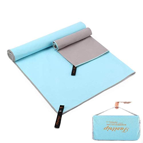 Set of 2 Fazitrip Microfiber Blue and Grey Quick Dry Towel For Gym, Travel, Camp, Beach, Backpacking, Sports, Outdoor Swim-Fast Dry Absorbent Antimicrobial Compact Lightweight Towel For Men Women