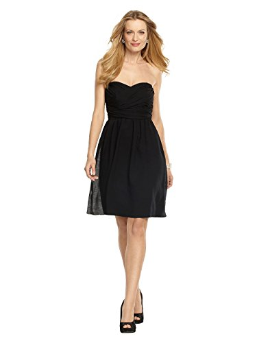 Women's Strapless Cocktail Length Silk/Wool Gauze Dress w/ Shirred Skirt- Dessy - Black - Size 4 (Wool Gauze)