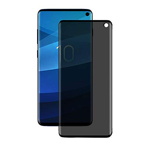 Tinted Glass Tempered (Pueryin Galaxy S10 Privacy Tempered Glass Anti-Spy Screen Protector [3D Curved] [Case Friendly] [9H Hardness] for Samsung Galaxy S10 (Black),Easy to Install, No air Bubbles)