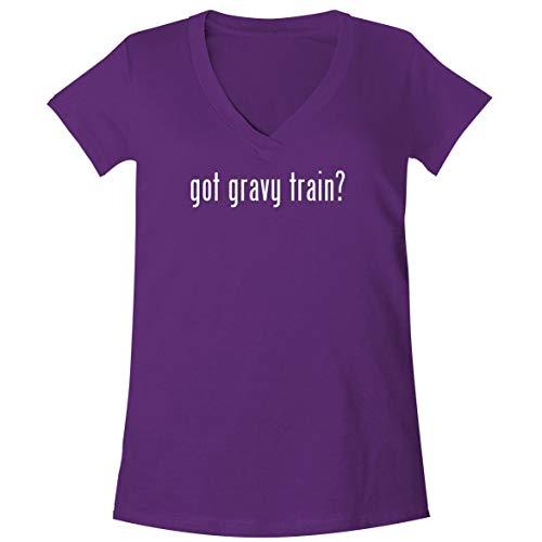 got Gravy Train? - A Soft & Comfortable Women's V-Neck T-Shirt, Purple, X-Large