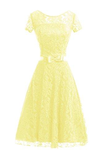 Short Line A Bridesmaid Dora Bridal Dress Sleeve Women Daffodil amp;Acute;s Party Lace Prom Dresses gTRTXnIWqx