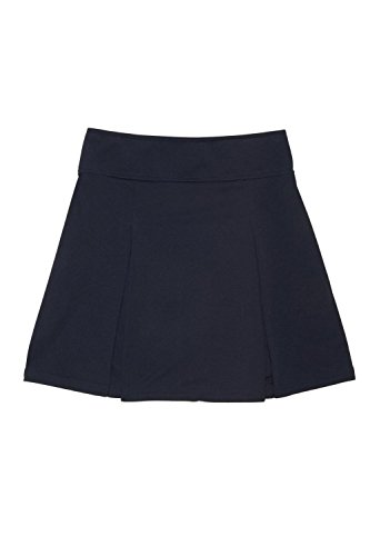 French Toast Big Girls' Pull-on Kick Pleat Scooter, Navy, L (10/12)