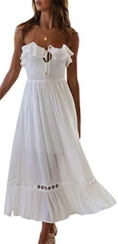 BOCOTUBE Women's Summer Sleeveless Strapless Ruffle Off Shoulder Swing Cocktail Party Dress - Strapless White Dress Summer