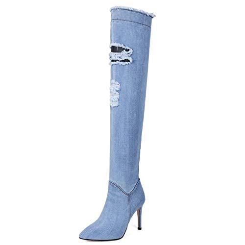 Zipper Size Women Boots Over Lady Heel Azzurro Autumn Boot Footwears Shoes Haoliequan With Heels 33 High Knee 40 x40w6xqgd