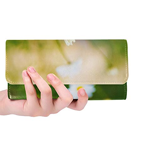 Blossom Camomile - Unique Custom Blossom Bright Camomile Chamomile Daisy Field Women Trifold Wallet Long Purse Credit Card Holder Case Handbag
