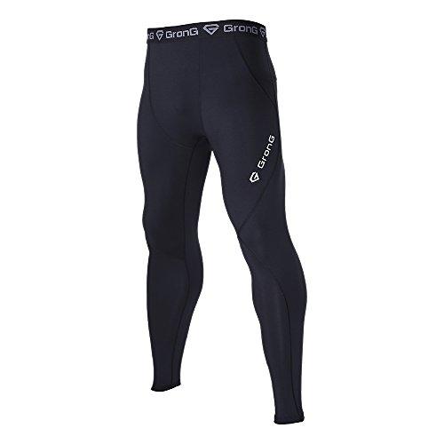 (グロング)GronG スポーツタイツ メンズ ロング レギンス UVカット UPF50+ コンプレッションウェア アンダーウェア オールシーズン ブラック×ブラック 3XLサイズの商品画像