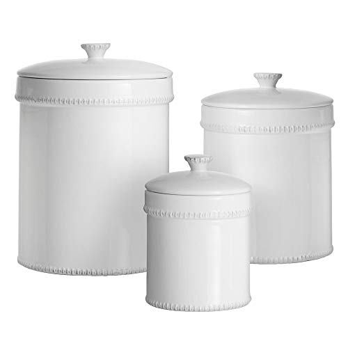 American Atelier Bianca Dash Canister Set 3-Piece Ceramic Jars in 30oz, 70oz and 122oz Chic Design with Lids for Cookies, Candy, Coffee, Flour, Sugar, Rice, Pasta, Cereal & More White, (30 Ounce Canister)