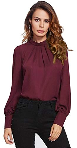 Alfa Fashion Party Solid Puffy Sleeve Self Design Women's Western Casual Top (Maroon, Medium)
