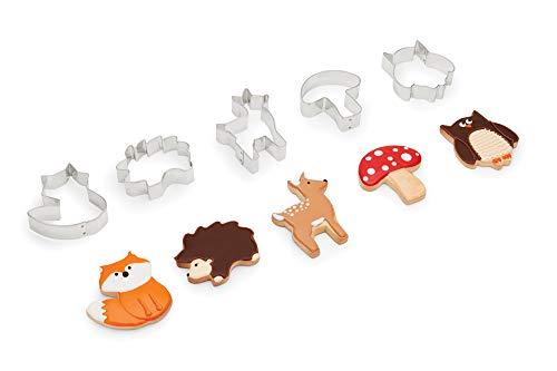Fox Run 3694 Woodland Animal Cookie Cutters, 1 x 3.5 x 4 inches, Metallic