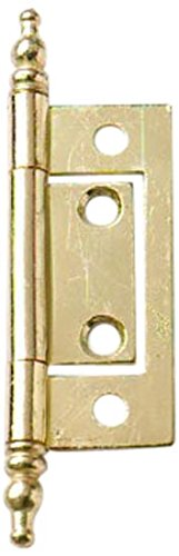 (Bulk Hardware BH01770 EB Non-Mortise Flush Hinge with Finial, 50mm (2 inch) - Brass Plated - Pack of 2)