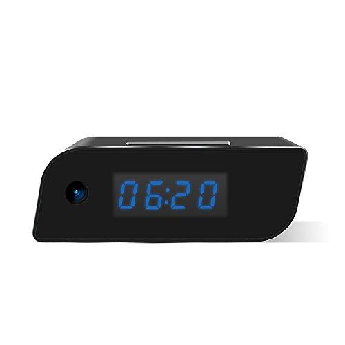 MEAUOTOU Hidden WiFi Camera Wireless IP Security Camera Alarm Clock 1080P HD Live Stream Video with Motion Detection Alarm, Spy Camera, Black